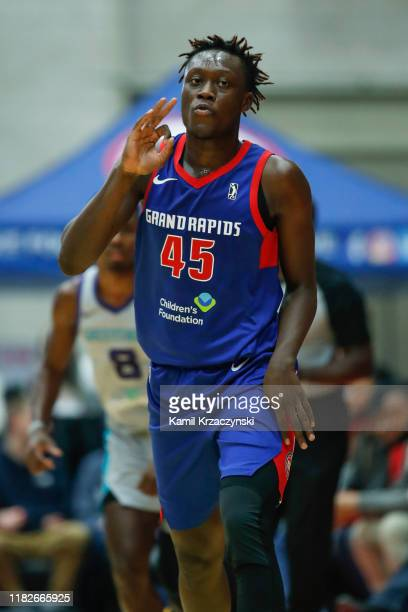 Sekou Doumbouya of the Grand Rapids Drive reacts after scoring against the Greensboro Swarm during the second quarter of an NBA G-League game on...