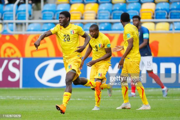Sekou Koita of Mali celebrates after scoring his team's first goal during the 2019 FIFA U-20 World Cup group E match between Mali and France at...