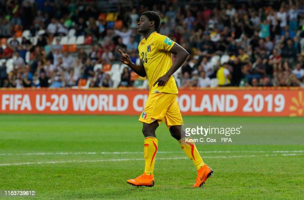 Sekou Koita of Mali celebrates as he scores a penalty in the shoot out during the 2019 FIFA U-20 World Cup Round of 16 match between Argentina and...