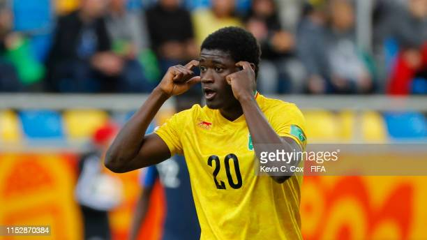 Sekou Koita of Mali reacts after scoring his team's first goal during the 2019 FIFA U-20 World Cup group E match between Mali and France at Gdynia...