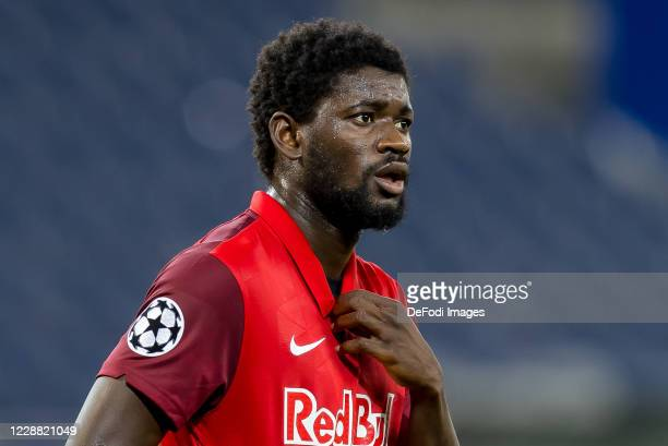 Sekou Koita of Red Bull Salzburg looks on during the UEFA Champions League Play-Off second leg match between RB Salzburg and Maccabi Tel-Aviv at Red...