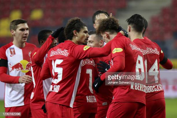 Sekou Koita of Salzburg celebrates with teammates his goal during Uniqua OeFB Cup Round of 16 match between RB Salzburg and SK Rapid Wien at Red Bull...