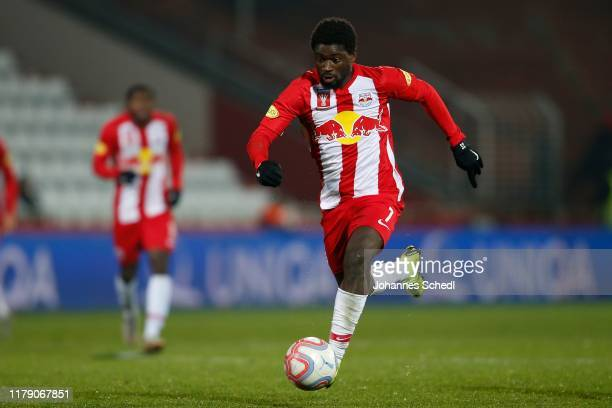 Sekou Koita of Salzburg during the Uniqa OeFB Cup match between ASK Ebreichsdorf and FC Red Bull Salzburg at BSFZ Arena on October 30, 2019 in Maria...