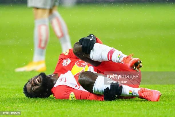 Sekou Koita of Salzburg got injured during the tipico Bundesliga match between FC Red Bull Salzburg and FK Austria Wien at Red Bull Arena on February...