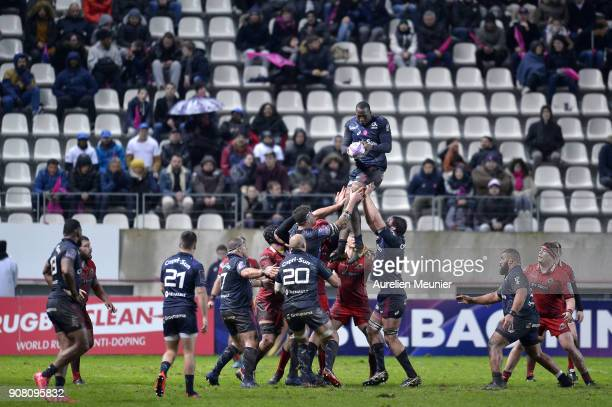 Sekou Macalou of Stade Francais jumps for the ball during the European Rugby Challenge Cup match between Stade Francais and Edinburgh at Stade...