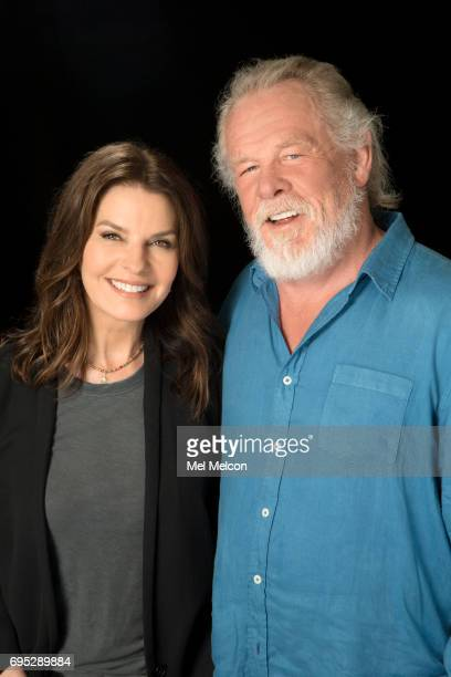 Sela Ward and Nick Nolte who star as a former president and his politically ambitious wife in the comedy series Graves are photographed for Los...