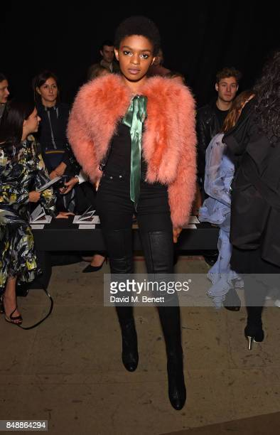 Selah Marley attends the Erdem catwalk show during London Fashion Week at The Old Selfridges Hotel on September 18 2017 in London England