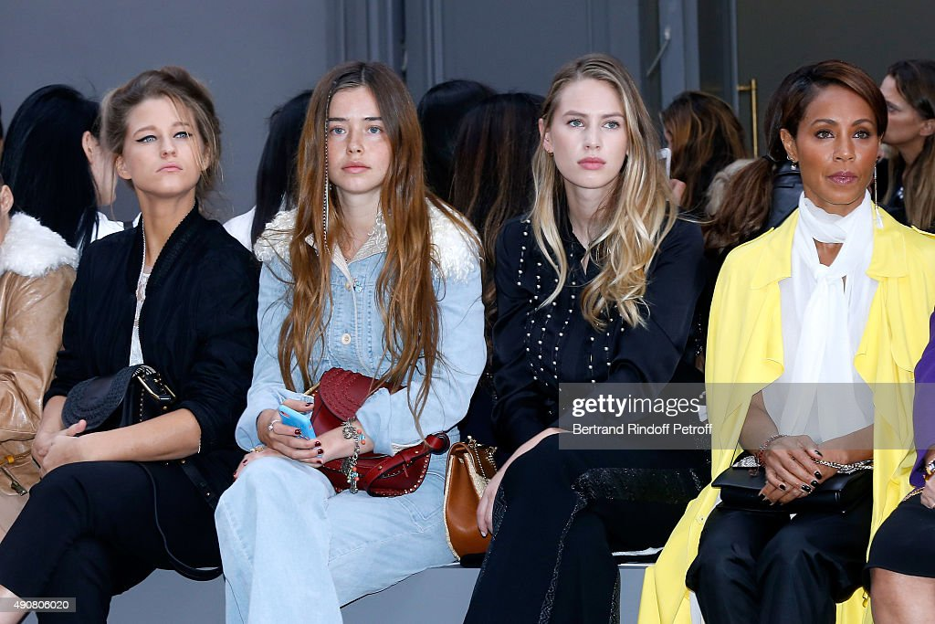 Selah Sue, Flo Morissey, Dylan Frances Penn and Jada Pinkett Smith attend the Chloe show as part of the Paris Fashion Week Womenswear Spring/Summer 2016. Held at Grand Palais on October 1, 2015 in Paris, France.