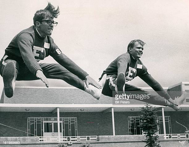 AUG 27 1965 AUG 30 1965 SEP 1 1965 Selby 4085 S Lincoln St do a fly¡ing leap for the benefit of the photographer The two boys are cheerleaders for...