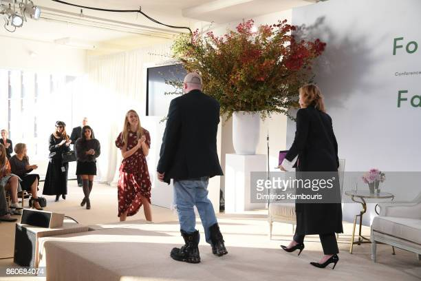 Selby Drummond, Demna Gvasalia and Sarah Mower speak onstage during Vogue's Forces of Fashion Conference at Milk Studios on October 12, 2017 in New...