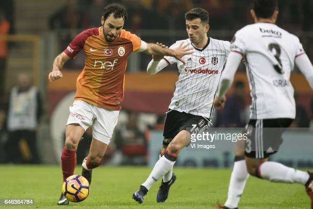 Selcuk Inan of Galatasaray Oguzhan Ozyakup of Besiktas JKduring the Turkish Spor Toto Super Lig football match between Galatasaray SK and Besiktas JK...