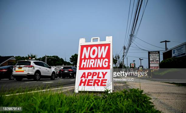 Photo of a help wanted sign along Middle Country Road in Selden on July 20, 2021.
