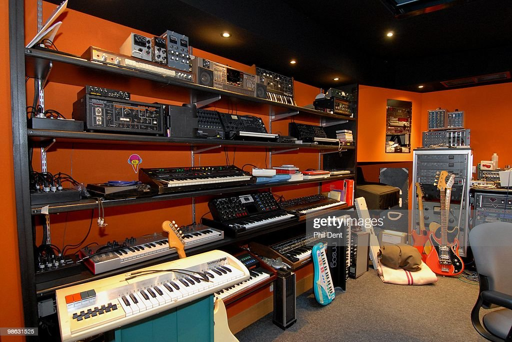 A selecction of vintage keyboards, synthesieres and guitars at the Paint Factory recording studio on 22nd October 2008 in the United Kingdom.