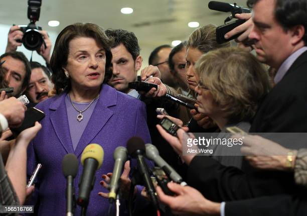 S Select Committee on Intelligence chairwoman Sen Dianne Feinstein speaks to members of the media after a hearing on the Benghazi attack November 16...