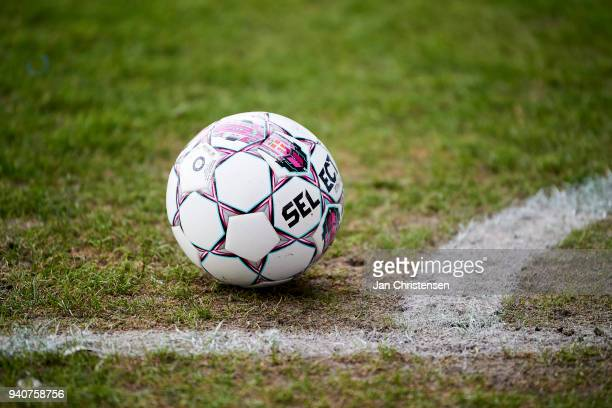 Select match ball on the pitch during the Danish Alka Superliga match between Randers FC and Lyngby BK at BioNutria Park Randers on April 01 2018 in...