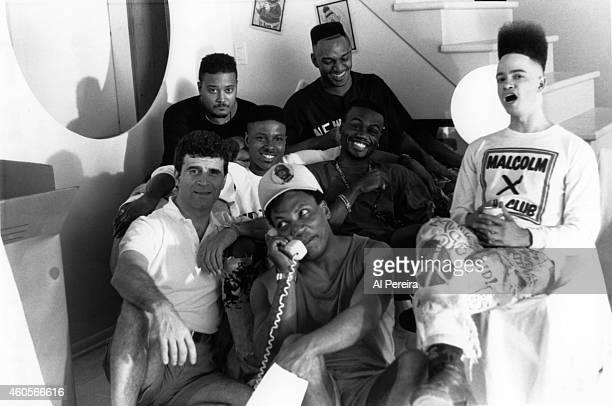 Select Records President Fred Munao Christopher Kid Reid far left cinematographer Ernest Roscoe Dickerson Mark DJ Wiz Eastmond of the hiphop group...