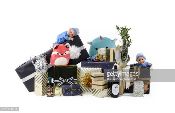 Selected Items displayed with wrapped boxes as a topper for the Post's annual gift guide on October 2017 in Washington DC