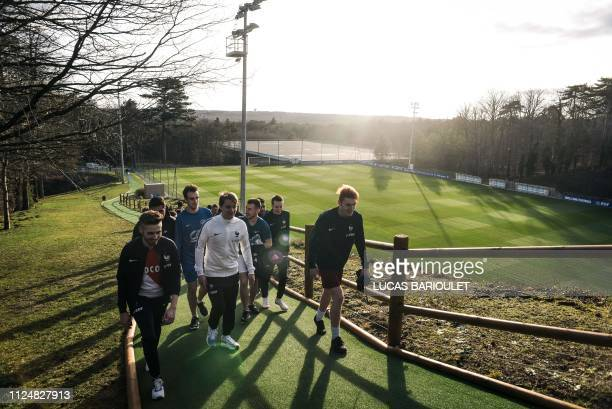 A selection of 16 pro gamers arrive at the French national football team base camp in Clairefontaine en Yvelines on February 12 2019 to attend the...