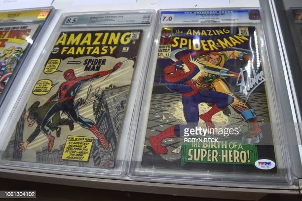 Selection of 20 works associated with the late Stan Lee's comics universe, including rare copies of comic books he wrote and signed, are displayed at...