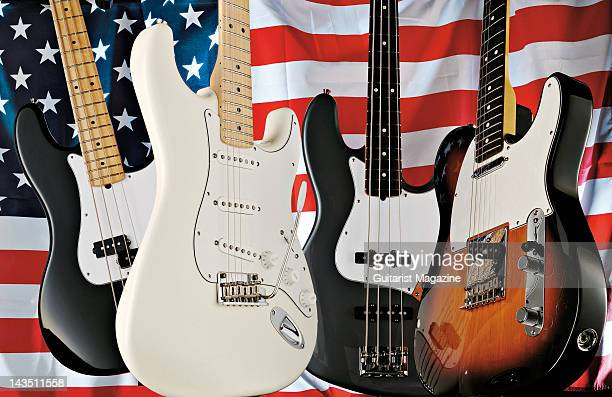 A selection of 2008 Fender American Standard Series bass and guitars including Jazz Bass Stratocaster Precision and Telecaster models taken on...