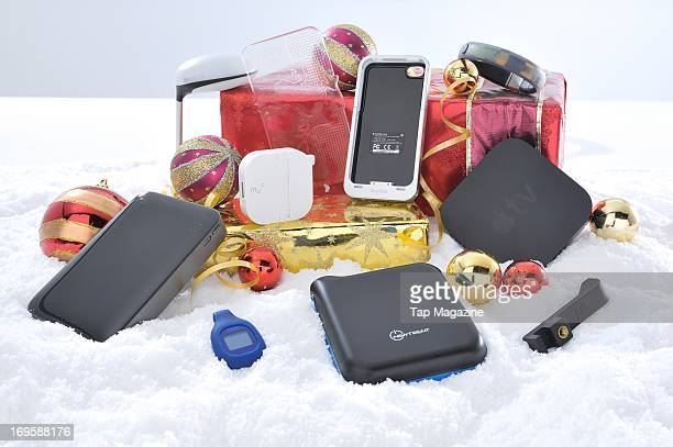 A selection of accessories for Apple iOS devices photographed during a studio shoot for Tap Magazine November 13 2012