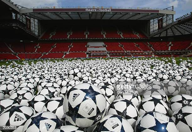 A selection of adidas Finale footballs are arrayed on the pitch at Old Trafford May 25 2003 in Manchester England To commemorate the final of the...