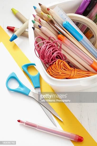 A selection of art and craft supplies