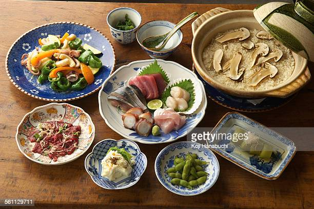 Selection of Asian food, high angle view