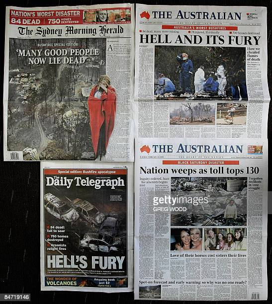 A selection of Australian newspaper front pages from February 9 and 10 showing the devastating aftermath of the Victorian bushfires are shown in this...