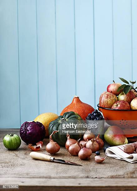 selection of Autumn fruit and vegetables on table