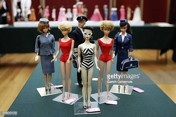 A selection of Barbie Dolls form what is thought to be the largest collection in the world at Christie's in South Kensington on August 10 2006 in...