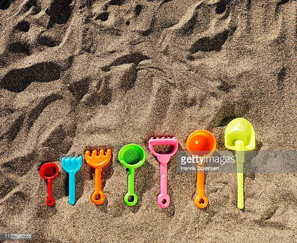 A selection of beach toys of various sizes