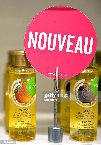 A selection of Body Shop Beautifying Oil Mango and Shea are seen on display at a store in Paris France on Wednesday Nov 21 2012 Body Shop...