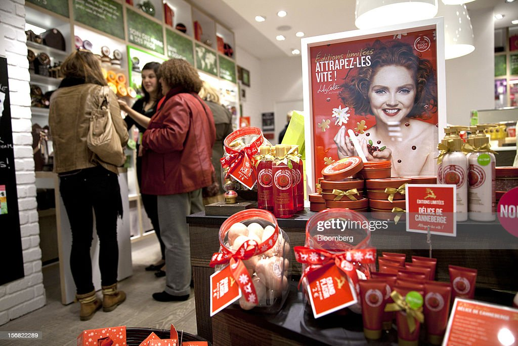 A selection of Body Shop products are seen on display at a store in Paris, France, on Wednesday, Nov. 21, 2012. Body Shop International Plc Chief Executive Officer Sophie Gasperment has introduced organic lines and updated products like Hemp Hand Protector with Community Fair Trade ingredients after L'Oreal, the world's largest maker of cosmetics, bought the company in 2006. Photographer: Balint Porneczi/Bloomberg via Getty Images