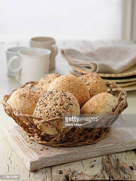 selection of bread rolls, mixed seed and whole grain. oats, poppy seeds, pumpkin seeds - バンズ ストックフォトと画像