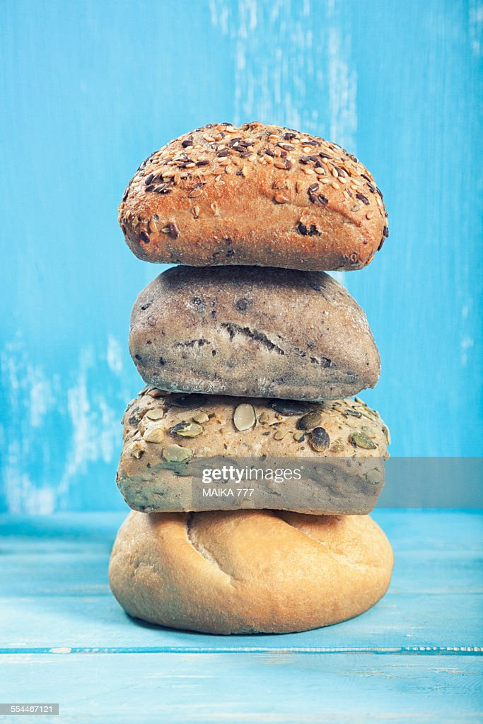 Selection of bread rolls mixed seed & whole grain : Stock Photo