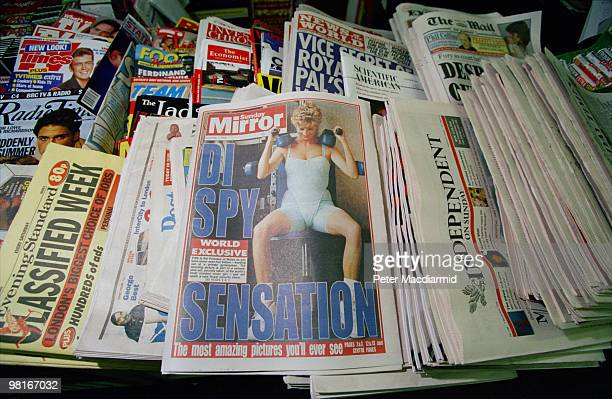 A selection of British magazines and Sunday newspapers 7th November 1993 At centre is a copy of the Sunday Mirror featuring a controversial...