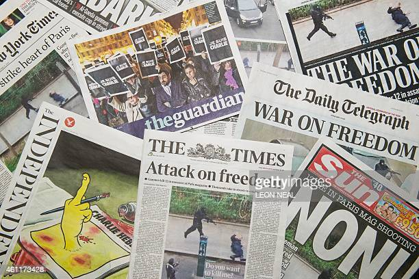 A selection of British newspaper front pages on January 8 the day after a terrorist attack killed 12 people at the offices of the 'Charlie Hebdo'...