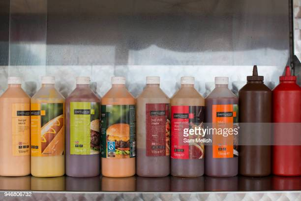 A selection of burger sauces and relishes at a roadside cafe on the 23rd June 2017 in Norfolk United Kingdom