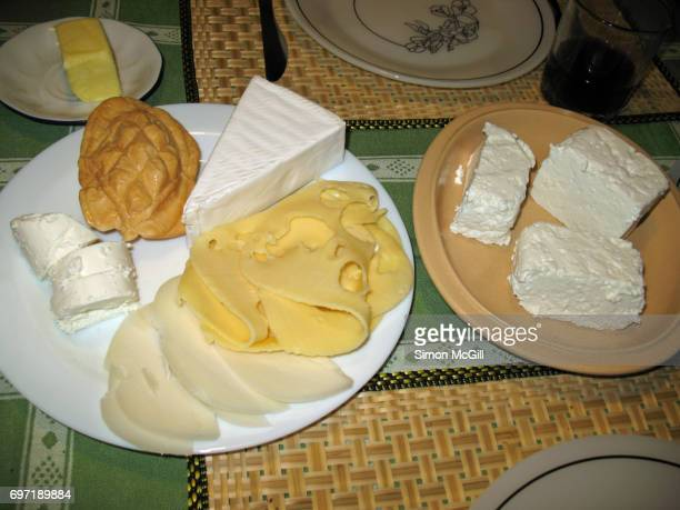 Selection of cheeses at breakfast