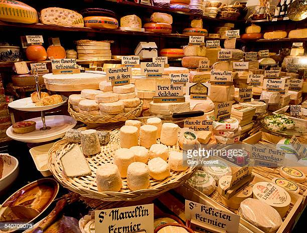 Selection of cheeses in a traditional cheese shop