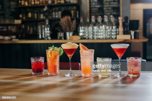 Selection of cocktails on a bar counter