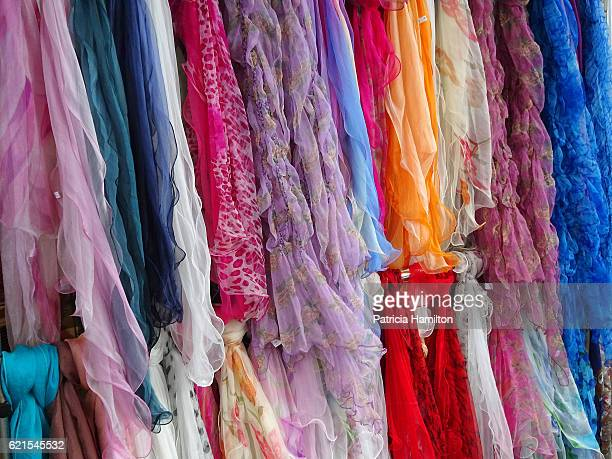 Selection of colourful neck scarves