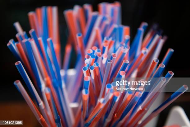 A selection of colourful plastic straws on October 26 2018 in Cardiff United Kingdom The government has set out a plan to ban the distribution and...