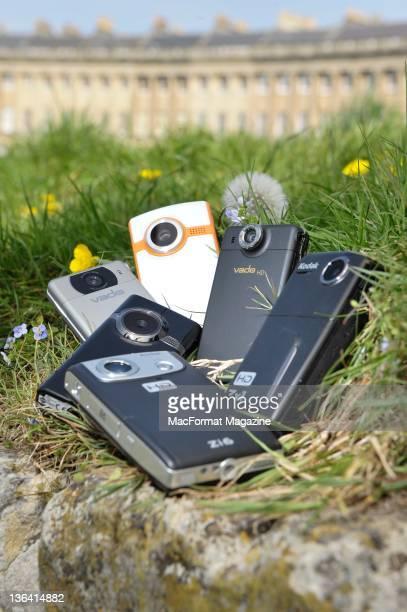 A selection of Compact DV Cameras Cisco Flip Ultra Creative Vado HD Kodak Zx1 Kodak Zi6 Cisco Flip Mino HD and Creative Vado session for MacFormat...
