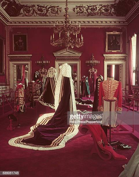 A selection of Coronation Robes on display in the entree room at St James's Palace in London on 9th June 1953 In centre are the robes worn by...