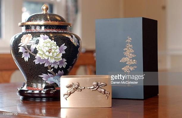 Selection of crematory urns available at Mount Auburn Cemetary is shown February 21, 2002 in Watertown, MA. The cemetary has been performing...