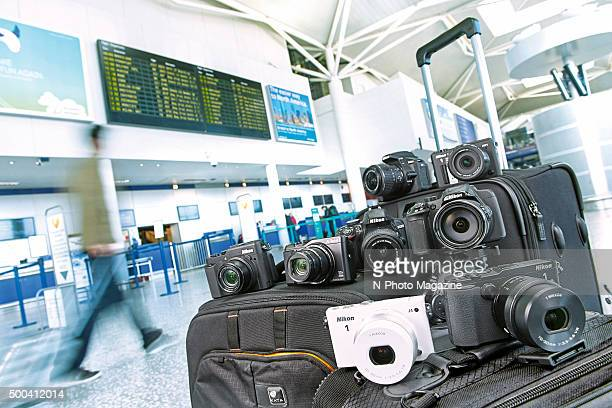A selection of digital cameras photographed at Bristol Airport in Somerset for a feature on travel cameras taken on April 9 2015