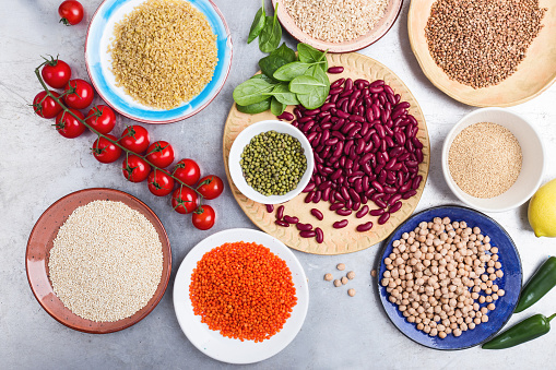 Selection of dry grains and beans - gettyimageskorea