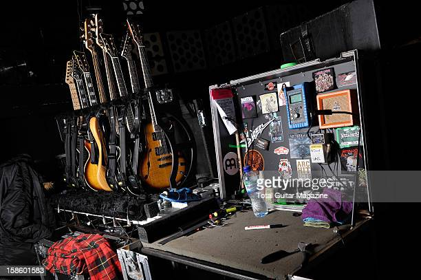 A selection of electric guitars and equipment used by English metalcore band Architects' guitar technician photographed during a shoot for Total...